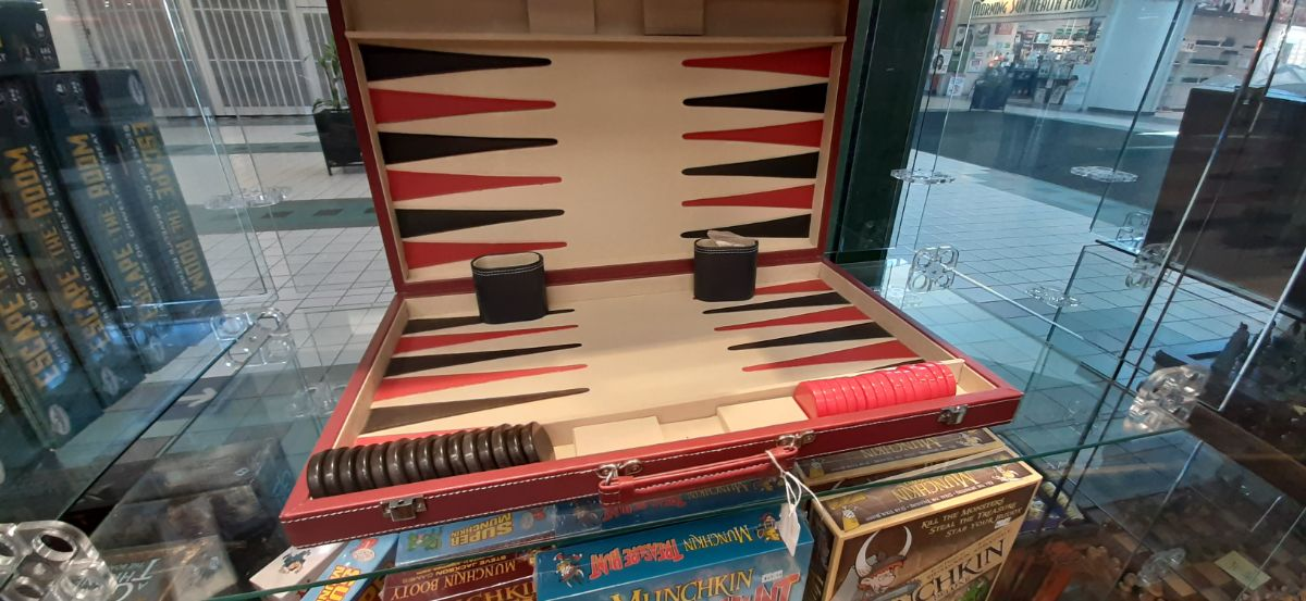 Backgammon set in red and black colour