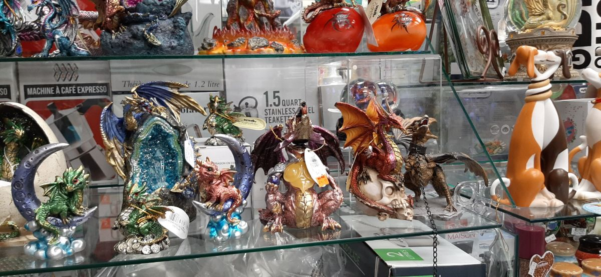 dragon figures on display