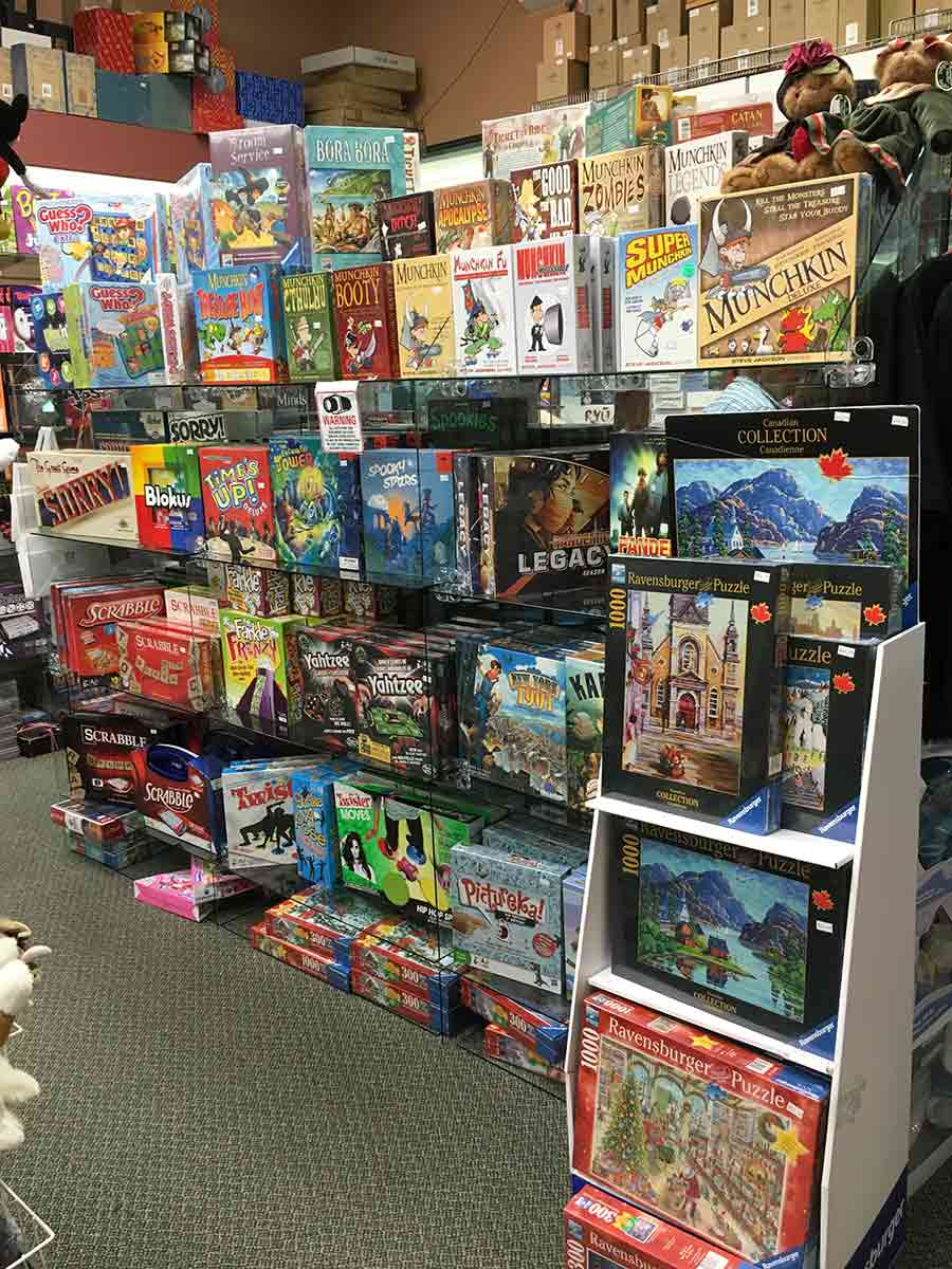 side view of Shelves filled with board games