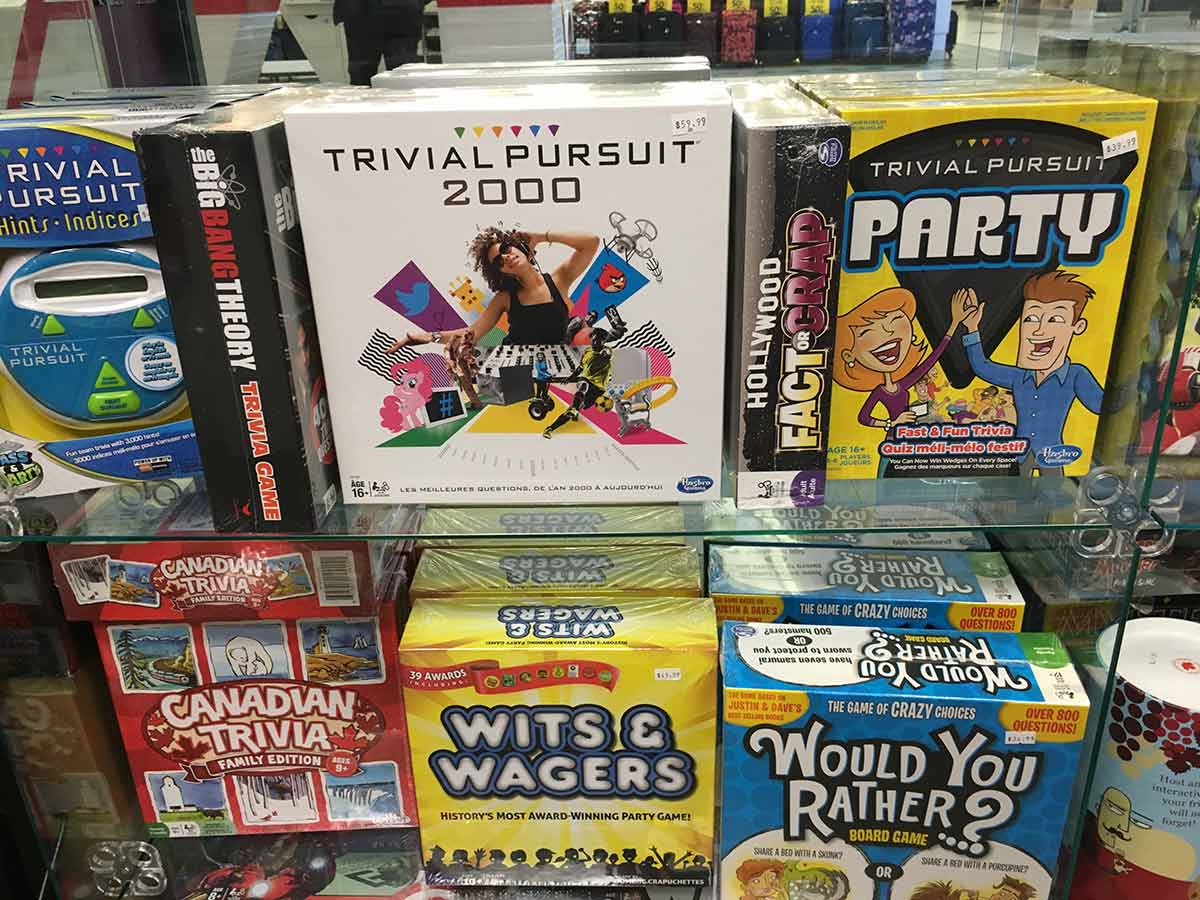 variety of board games on display
